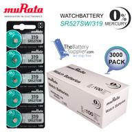 3000 x MuRata 319 Watch Batteries, 0% MERCURY equivilate SR527SW Wholesale Pack