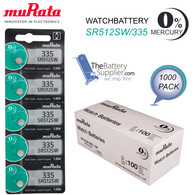 1000 Pcs Murata #335 SR512SW 1.55V Silver Oxide Watch Battery Kit Wholesale Pack