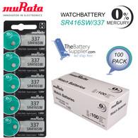 100 x Murata SR416SW 337 8.3mAh 1.55V Silver Oxide Watch Battery - 1 Piece Tear Strip