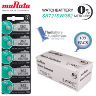 100 x Murata 362 battery Silver oxide SR721SW 1.55V for Watches