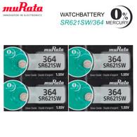 (4 Pcs) Murata 364 SR621SW SR621 Authentic Silver Oxide Watch Battery