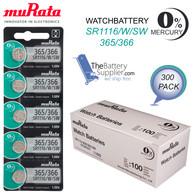 300 Murata #365 SR1116W 0% Mercury Free 1.55V Silver Oxide Battery