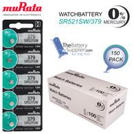 150pcs x muRata SR521SW 379 Silver Oxide Watch Battery Made in Japan