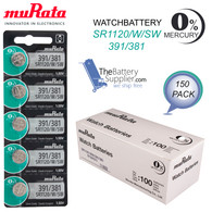 150 x Murata 391/391 Cell Battery Watch Mercury Free Silver Oxide SR1120SW 1.55V