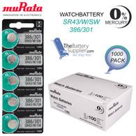 1000 pcs Murata SR43W SG12 SR43 386 Silver Oxide Watch Battery FAST USA SHIP