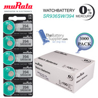 3000 x MURATA 394 WATCH BATTERIES SR936SW Sealed Authorized Seller Wholesale Pack