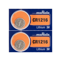 2pcs Murata CR1216 30mAh 3V Lithium (LiMnO2) Coin Cell Watch Battery