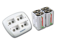 Tenergy Smart 9V Charger TN136 With Four Batteries