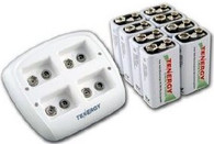 Tenergy Smart 9V Charger TN136 With Eight Batteries