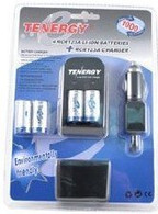 Tenergy 4 RCR123A Rechargeable Batteries with Chargers