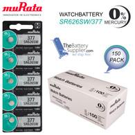 150pcs Murata 377 SR626SW 1.55Volt Silver Oxide Watch Battery Sealed