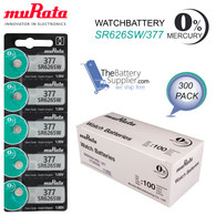 300 x Murata 377 Silver Oxide batteries 1.55V SR66 SR626SW 376 Watches 0% Mercury