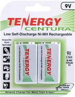 Tenergy Centura Rechargeable 9V Volt Low Self-Discharge Battery 2Pk