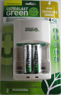 Ultralast Standard Wall Charger with 2 AA Green Rechargeable Batteries