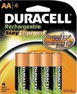 Duracell Pre Charged Rechargeable NiMH AA Batteries, X4
