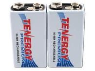 2 pcs Tenergy Premium 9V 200mAh NiMH Rechargeable Batteries