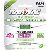 Rayovac Platinum Rechargeable NiMH 9V Size Battery 1pk