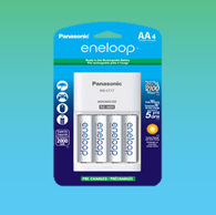 4 Pack Panasonic K-KJ17MCA4BA Advanced Individual Cell Battery Charger with Eneloop AA New 2100 Cycle Rechargeable Batteries