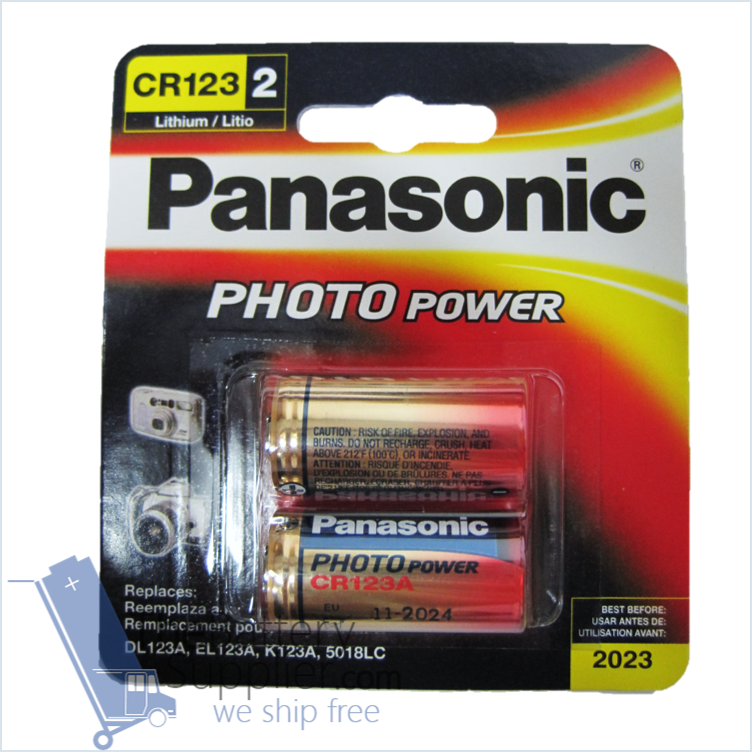 2pc Panasonic Lithium Cr123a 3v Photo Lithium Batteries Originally