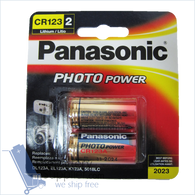 2pc Panasonic Lithium CR123A 3V Photo Lithium Batteries ORIGINALLY PACKED