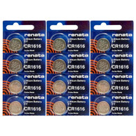 Renata CR1616 Battery 3v Lithium Coin Cell 12 Pack