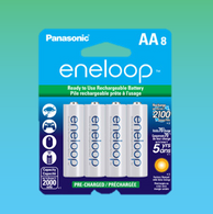 Eneloop Panasonic AA New 2100 Cycle Rechargeable Batteries 8pc