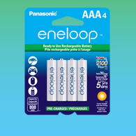 4 Eneloop Panasonic AAA New 2100 Cycle Rechargeable Batteries