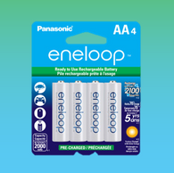 4 Eneloop Panasonic AA New 2100 Cycle Rechargeable Batteries
