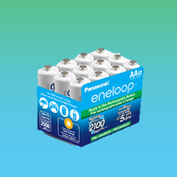 Box of 12 super Eneloop Panasonic AA New 2100 Cycle Rechargeable Batteries