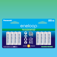 Pack of 16 super Eneloop Panasonic AA New 2100 Cycle Rechargeable Batteries