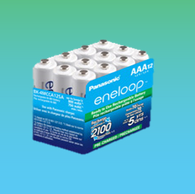 12 Eneloop Panasonic AAA New 2100 Cycle Rechargeable Batteries