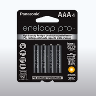 4pack Panasonic Eneloop Pro AAA Rechargeable Batteries