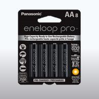 Panasonic Eneloop Pro AA Rechargeable Batteries 8 batteries