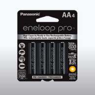 4 pack Panasonic Eneloop Pro AA Rechargeable Batteries