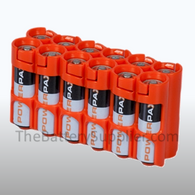 12 Pack Battery Caddy for 12 AA batteries - Orange