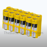 12 Pack Battery Caddy for 12 AA batteries - Yellow