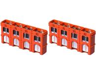 2 pack SlimLine 9V storacell battery holder battery case - orange