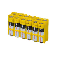 Pack of 2 12 Pack Battery Caddy for 12 AA batteries - Yellow