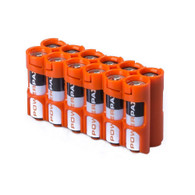 Pack of 2 12 Pack Battery Caddy for 12 AA batteries - Orange