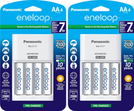 2 Pack BQCC17 - 4 Panasonic K-KJ17MCA4BA Advanced Individual Cell Battery Charger with Eneloop AA New 2100 Cycle Rechargeable Batteries