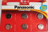 Panasonic CR2032 Battery Lithium CR-2032 3V Coin Cell pack of 6 batteries Exp. Date 2022