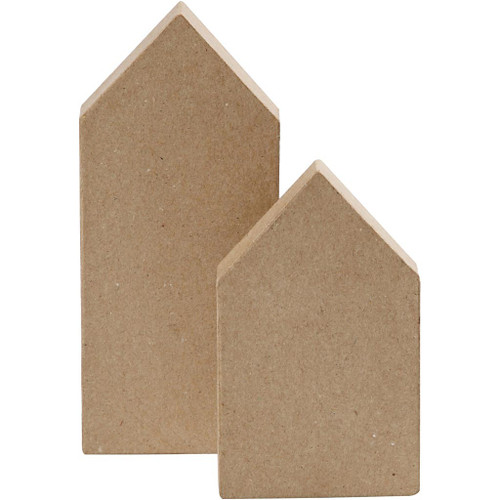 Houses - Papier Mache 12.5cm + 15cm (Set of 2)