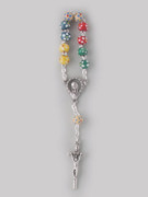 Rosary Ring/Finger Rosary: Coloured Wood (RR102M)