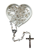 Rosary: Heartshaped Bead 6mm Clear (RX37156W)
