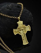 Pendant on Cord, Head of Christ in Cross GILT(JE7454)