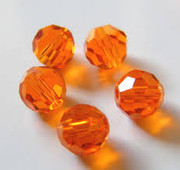 Glass Crystal Beads 6mm Round Orange x 100(C6027)