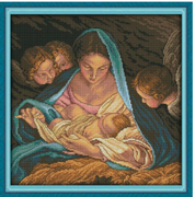 Cross Stitch Kit: Mother and Child with Angels (KXR847)
