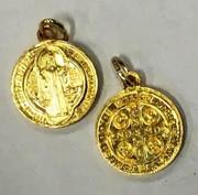 Gilt Aluminium Medal: St Benedict (ME17G)