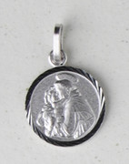 Sterling Silver Round Medal: St Anthony (ME1011)