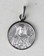 Sterling Silver Round Medal: St Theresa (ME1018)